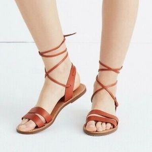 Madewell Lace Up Ankle Tie Nutmeg Sandals Size 6.5